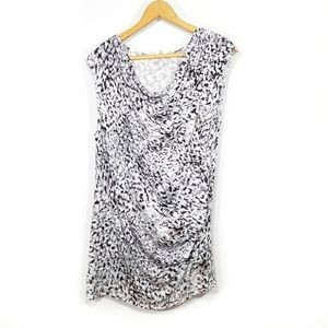 Cabi white black cowl neck ruched blouse L
